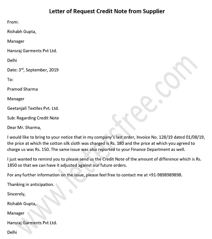 Letter of Request Credit Note from Supplier