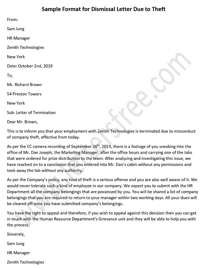 Dismissal Letter Due to Theft - Employee Termination Letter