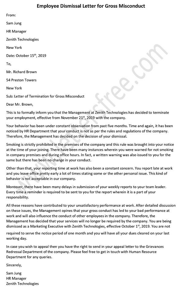 Employee Dismissal Letter for Gross Misconduct