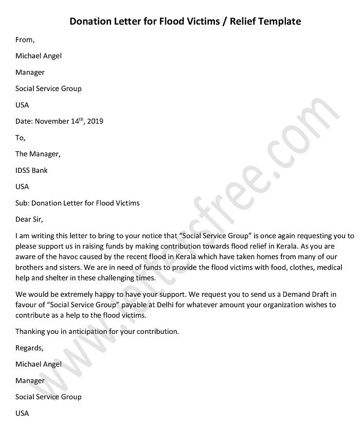 Donation Letter for Flood Victims, Relief Sample Template