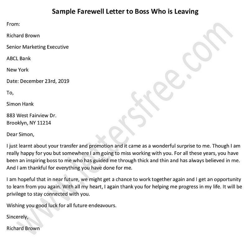 farewell letter to boss who is leaving