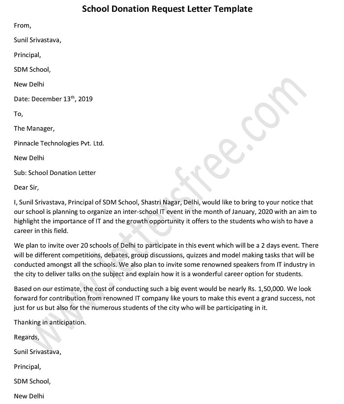 School Donation Letter - Donation Request Template Sample