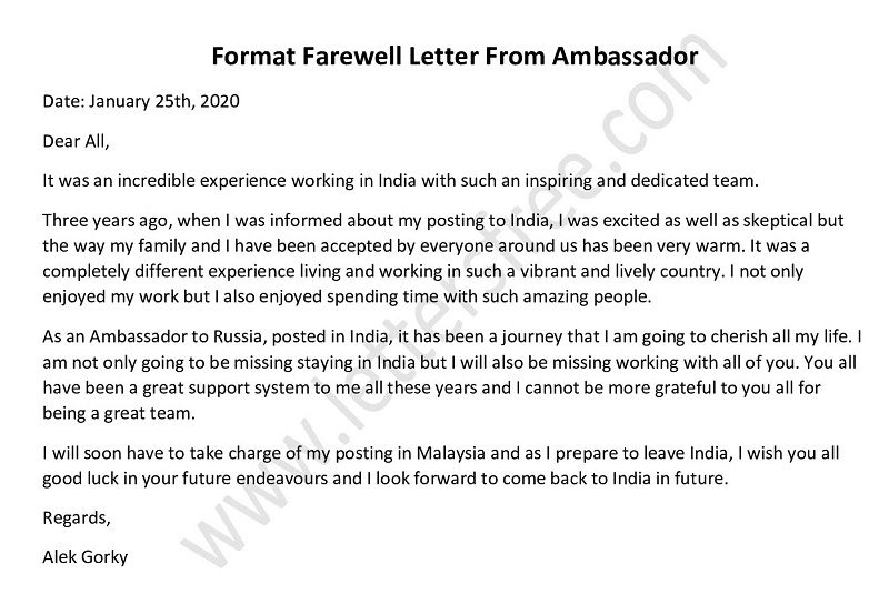 Sample Farewell Letter From Ambassador