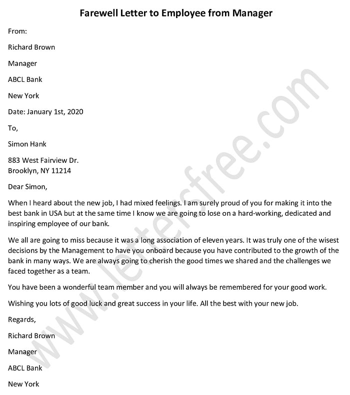 Sample Farewell Letter to Employee from Manager