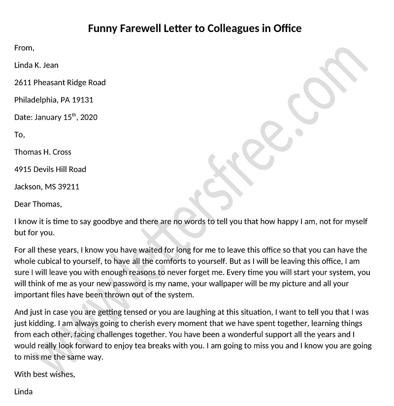 funny farewell letter to colleagues in office