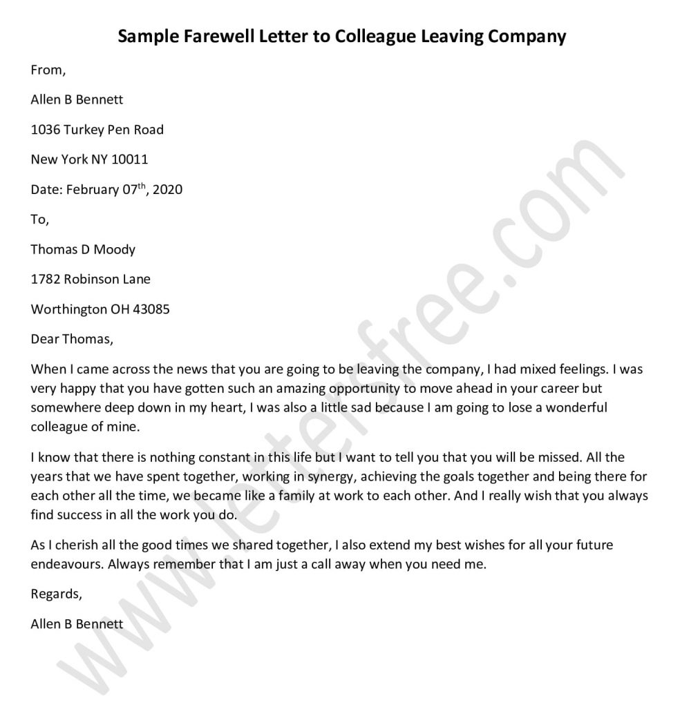 Letter To Employee Leaving from www.lettersfree.com