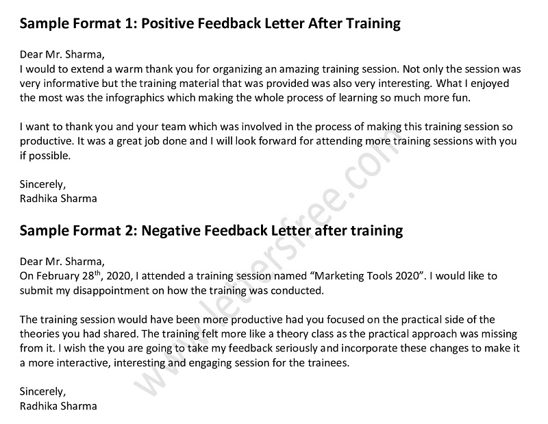 feedback letter after training, Positive & Negative Feedback Letter