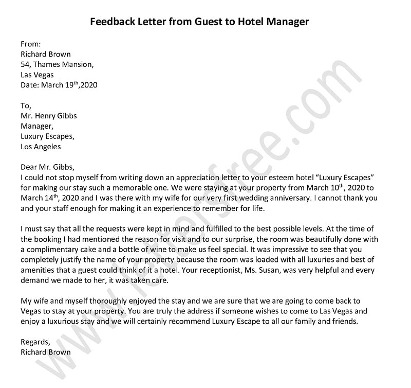 Sample Feedback Letter to Guest From Hotel Manager