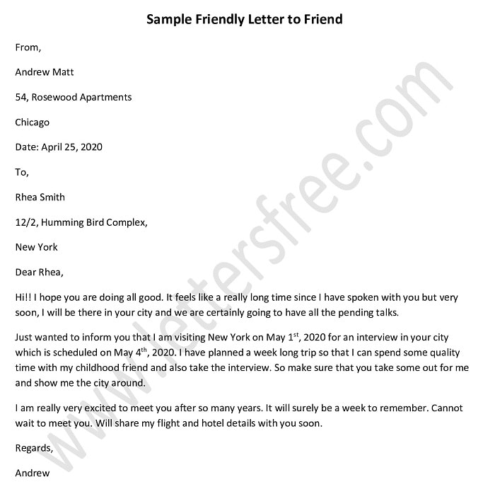 Friendly Letter to a Friend, Good Friend Letter Sample