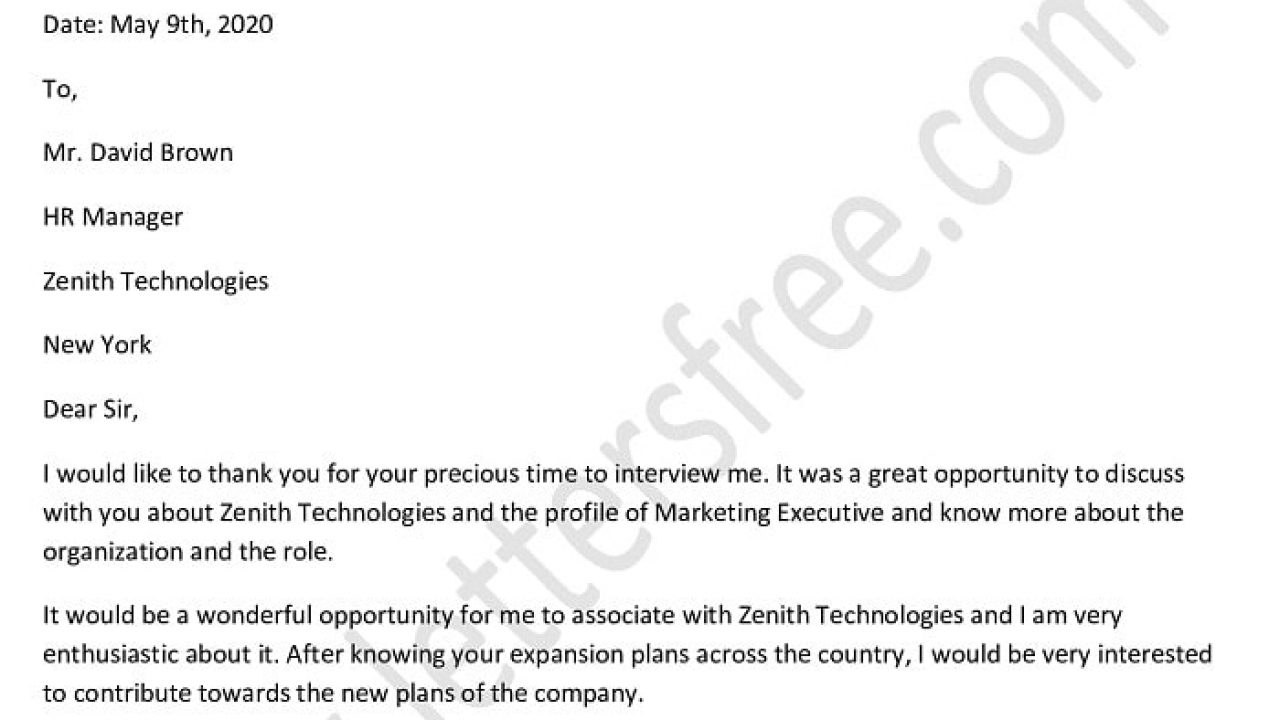 Follow Up Interview Letter from www.lettersfree.com
