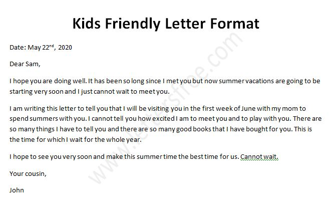 Kids Friendly Letter, Sample Friendly Letter Format