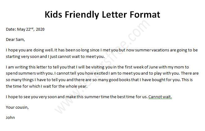Kids Friendly Letter, Sample Friendly Letter Format