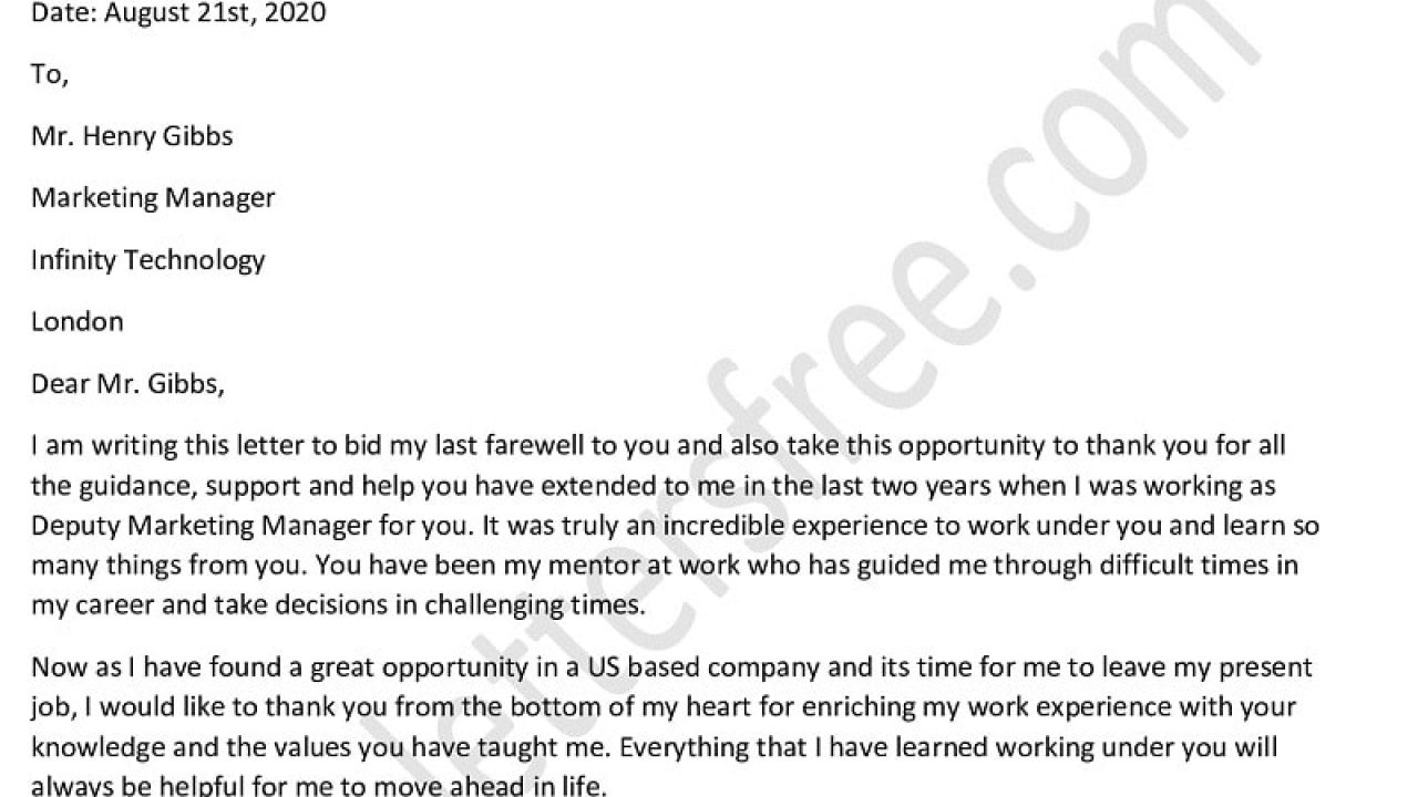 Goodbye Letter To Manager from www.lettersfree.com