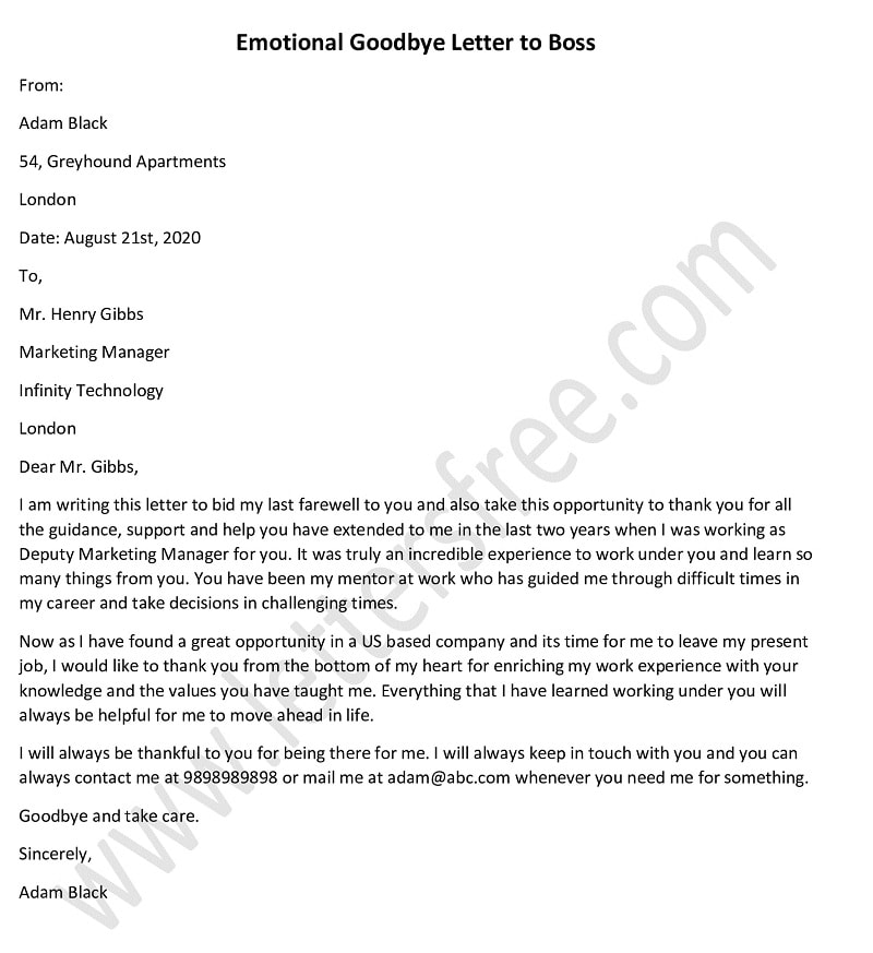 Emotional Goodbye Letter to Boss, Heartfelt Goodbye Letter