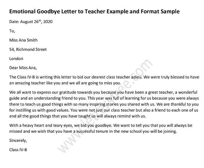 Emotional Goodbye Letter to Teacher, Mentor Goodbye Letter Sample