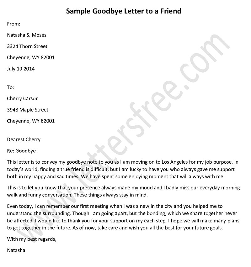 goodbye letter to a friend, farewell letter example