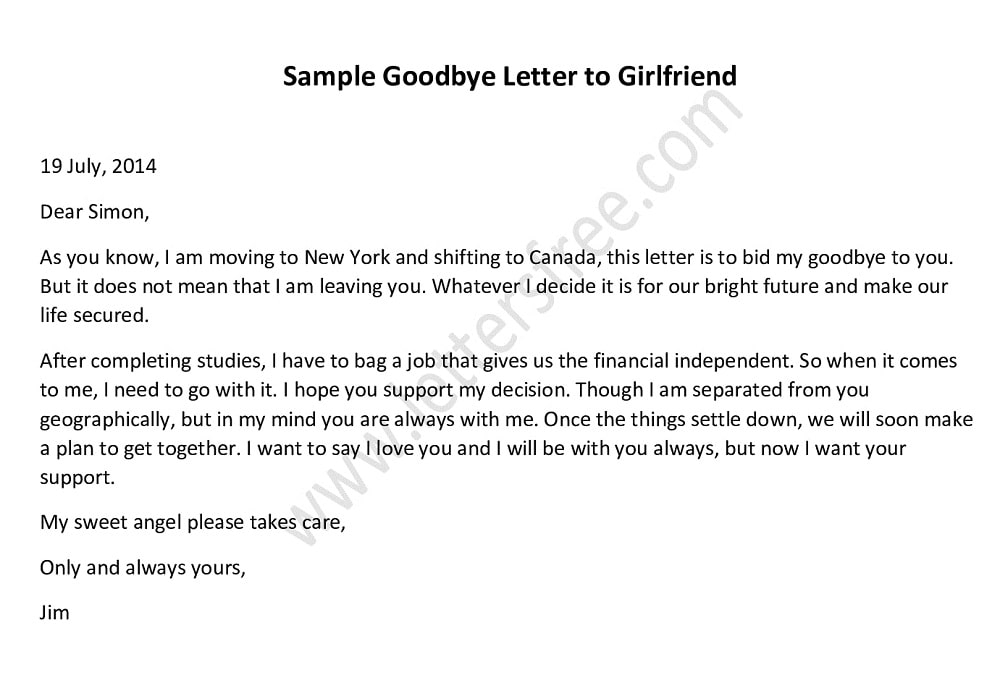 Goodbye Letter to Girlfriend, farewell letter to girlfriend