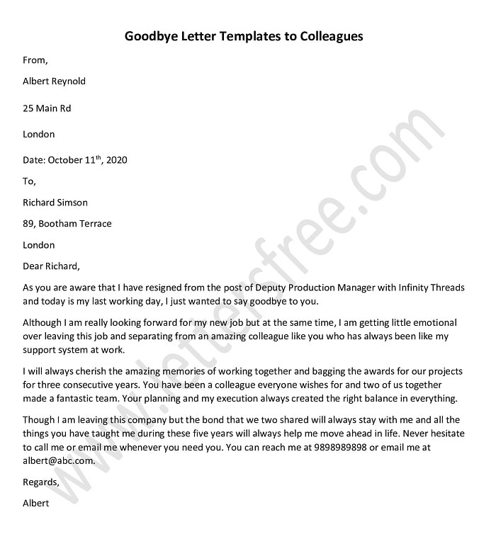 Goodbye letter to colleagues Template, Sample Farewell Goodbye Letter to colleague