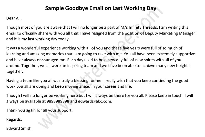 Last Working Day Goodbye Email, Goodbye Letter Tips, How to Write Farewell Email