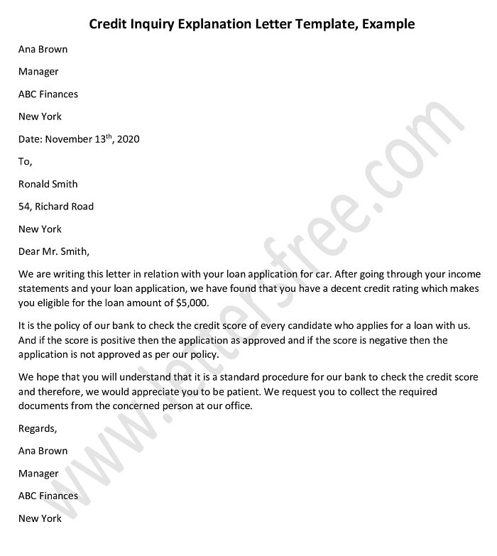 Credit Inquiry Explanation Letter Template, Inquiry Letter Example