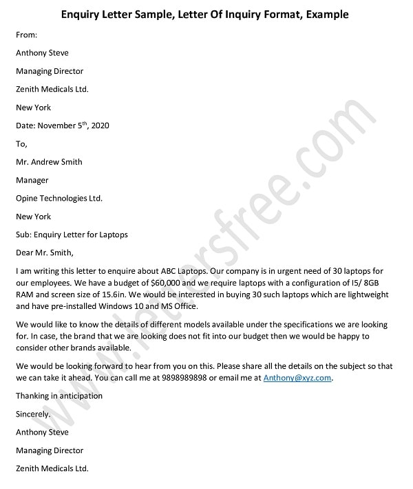 Sample Letter Of Inquiry Format, Enquiry Letter Example, Enquiry Letter Writing Tips
