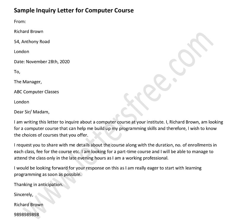 inquiry letter for computer course, course enquiry letter sample