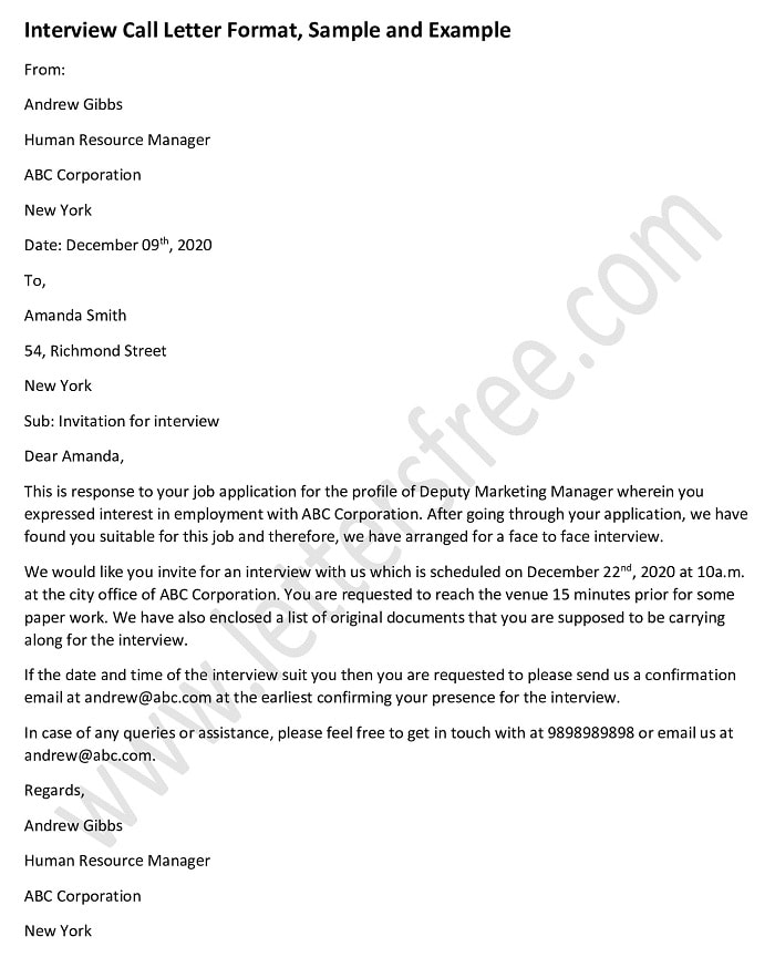 Interview Call Letter format, Job Interview Letter Sample, Example, Interview template