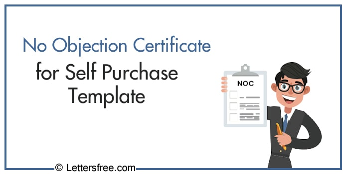 No Objection Certificate for Self Purchase Template