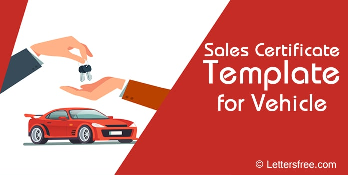 Sales Certificate Template for Vehicle, Certificate Format
