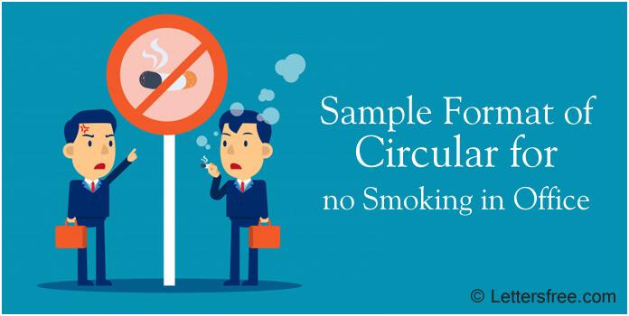 Circular for no Smoking in Office, No Smoking Memo Sample Format