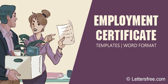 Sample Employment Certificate Templates, Certificate Format