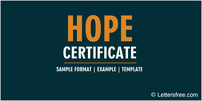 Hope Certificate Application Format, Sample, Example, Template