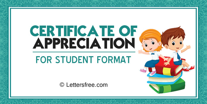 Certificate of Appreciation for Students Template Certificate Format
