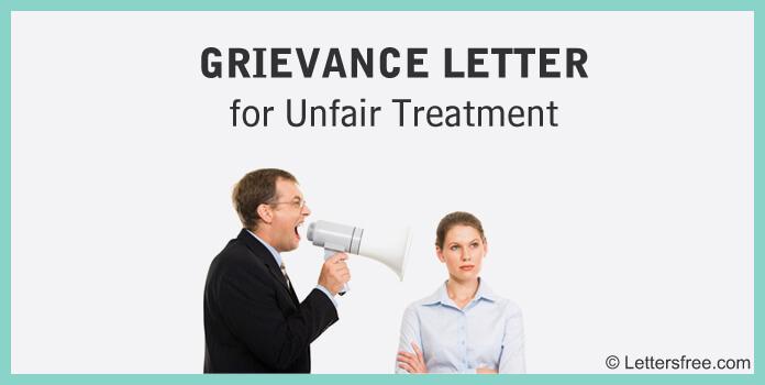 Sample Grievance Letter for Unfair Treatment Template